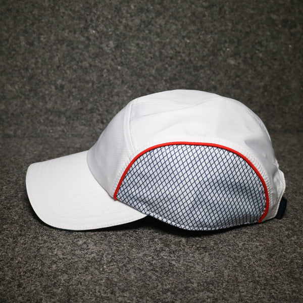 Side view of the Lacoste Dry Fit Training Cap White at Solemate Sneakers Sydney