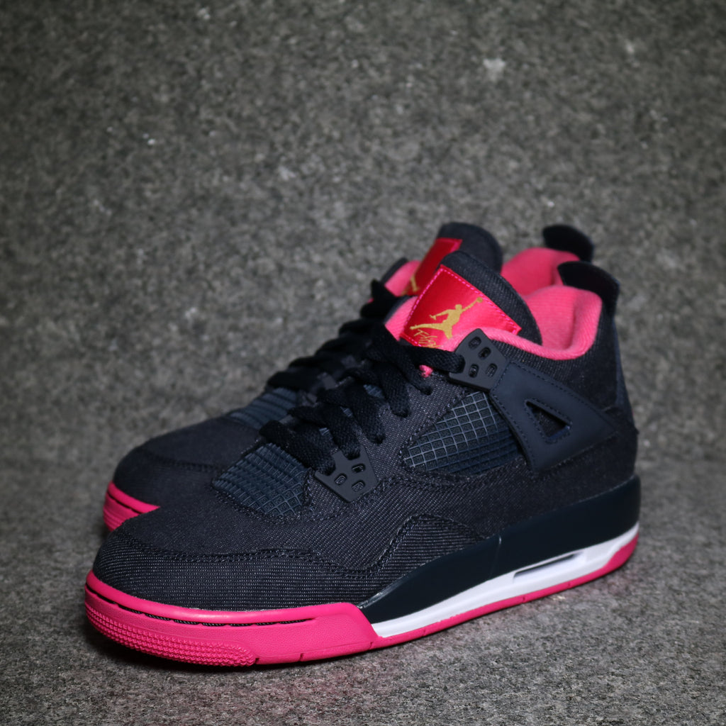 Off Centre View of the Air Jordan 4 Retro GS Denim Dark obsidian Gold Vivid  Pink 2229ffeef
