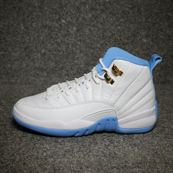 "Air Jordan 12 GG (GS) ""Melo"" White Metallic Gold University Blue"