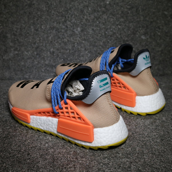 Rear view of the Adidas NMD Human Race Pharrell Pale Nude AC7361 at solemate sneakers