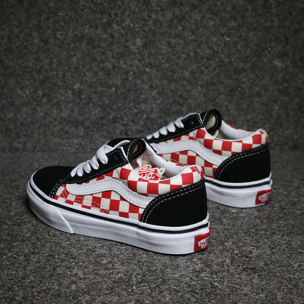 Kids Old Skool Checkerboard Black Red White