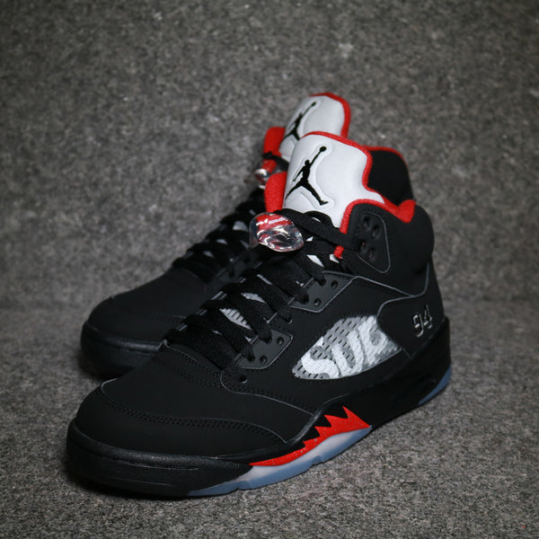 "Air Jordan 5 Retro ""Supreme"" Black White Varsity Red"