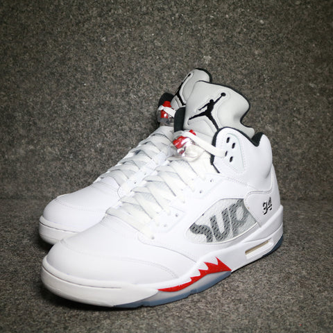 "Air Jordan 5 Retro ""Supreme"" White Black Varsity Red"