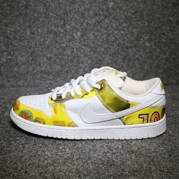 Side view of the Dunk Low Pro SB De La Soul White Yellow at Solemate Sneakers Sydney