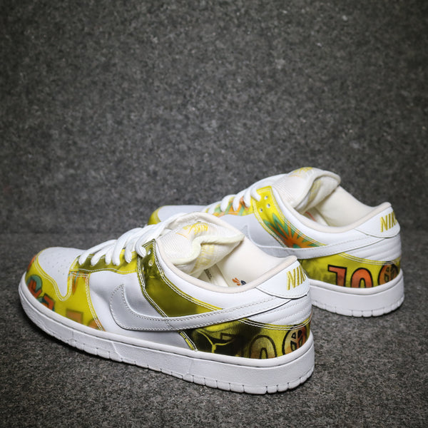 Rear view of the Dunk Low Pro SB De La Soul White Yellow at Solemate Sneakers Sydney