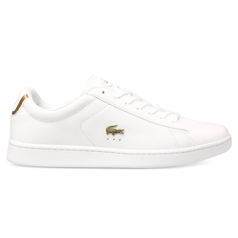 Women's Carnaby EVO 0102 White Gold Perforated Leather by Lacoste