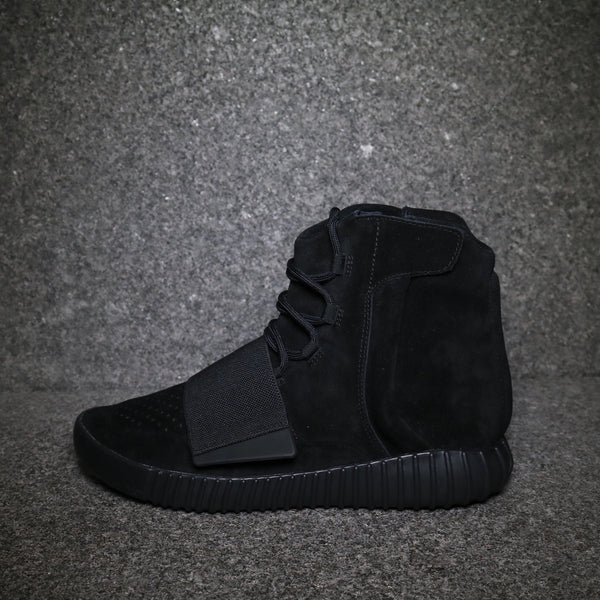 "Side view of the Yeezy 750 Boost ""Black"" Black Black at Solemate Sneakers Sydney"
