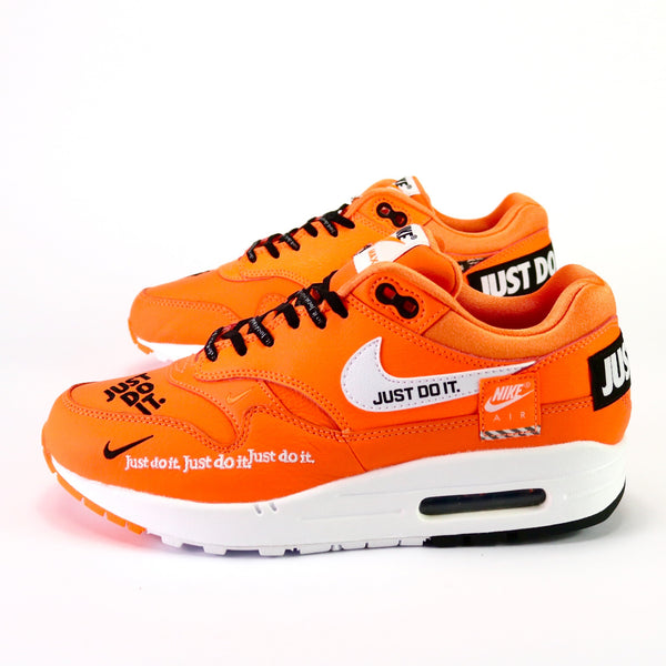 3eeb84b023 Women's Air Max 1 Deluxe Just Do It Total Orange Black White – Sole ...