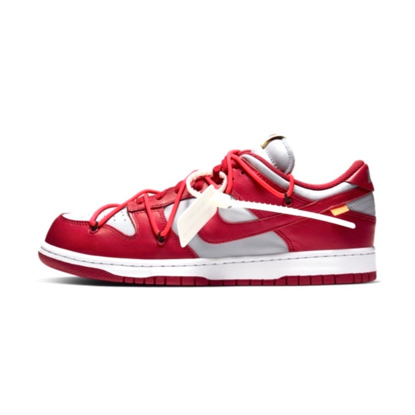 Off White x Nike Dunk Low Leather University Red White