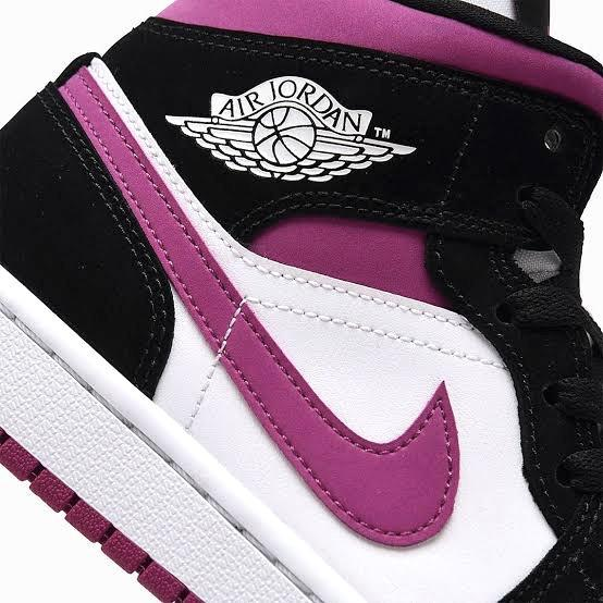 Women's Air Jordan 1 Mid Black Magenta Cactus Flower White