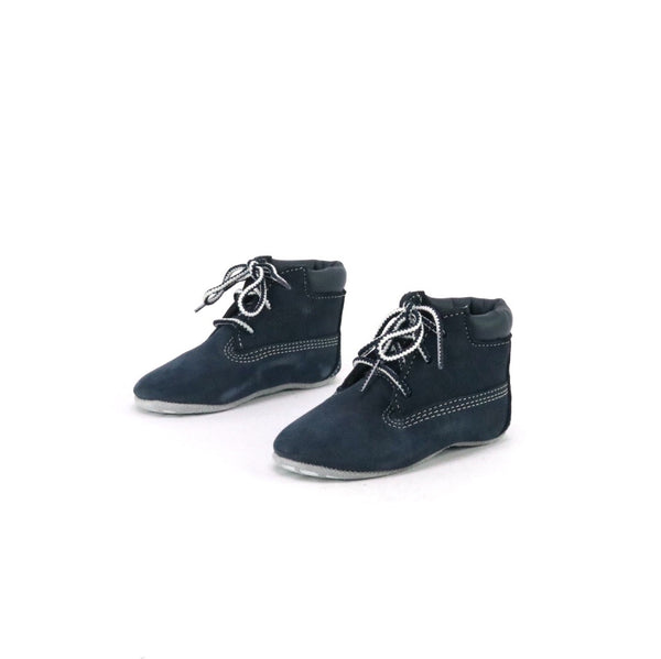 Infant Crib Bootie With Hat Navy Nubuck