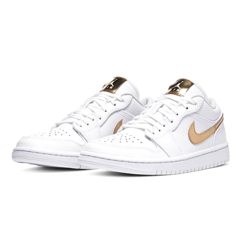 Womens Air Jordan 1 Low SE White Metallic Gold White