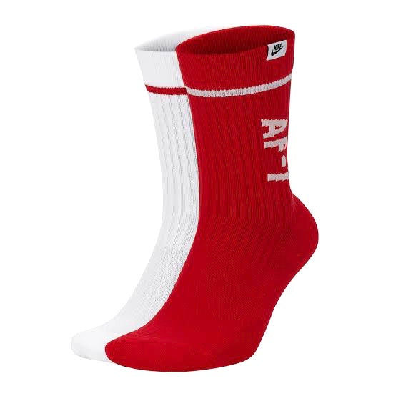 Nike Classic AF1 Crew Socks 2 Pack White Red