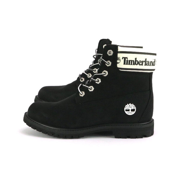 "Women's Timberland 6"" Boot Premium Black Nubuck Big Logo White"