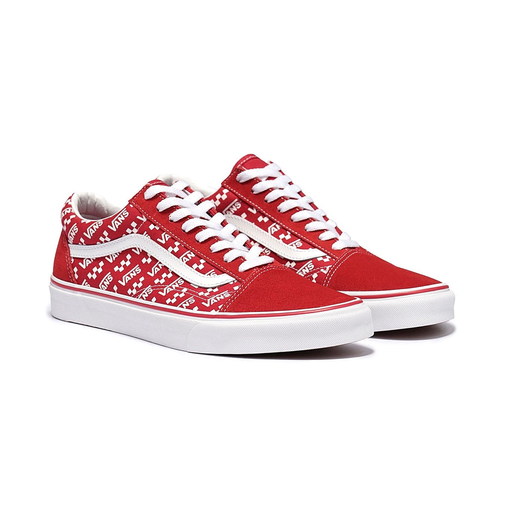Old Skool Logo Repeat Red White by Vans