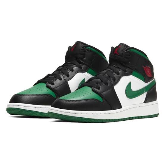 Air Jordan 1 Mid GS Pine Green White Gym Red