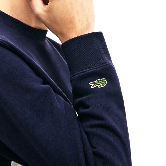 Lacoste Heritage Panel and Badge Fleece Crewneck Sweatshirt Marine Navy White