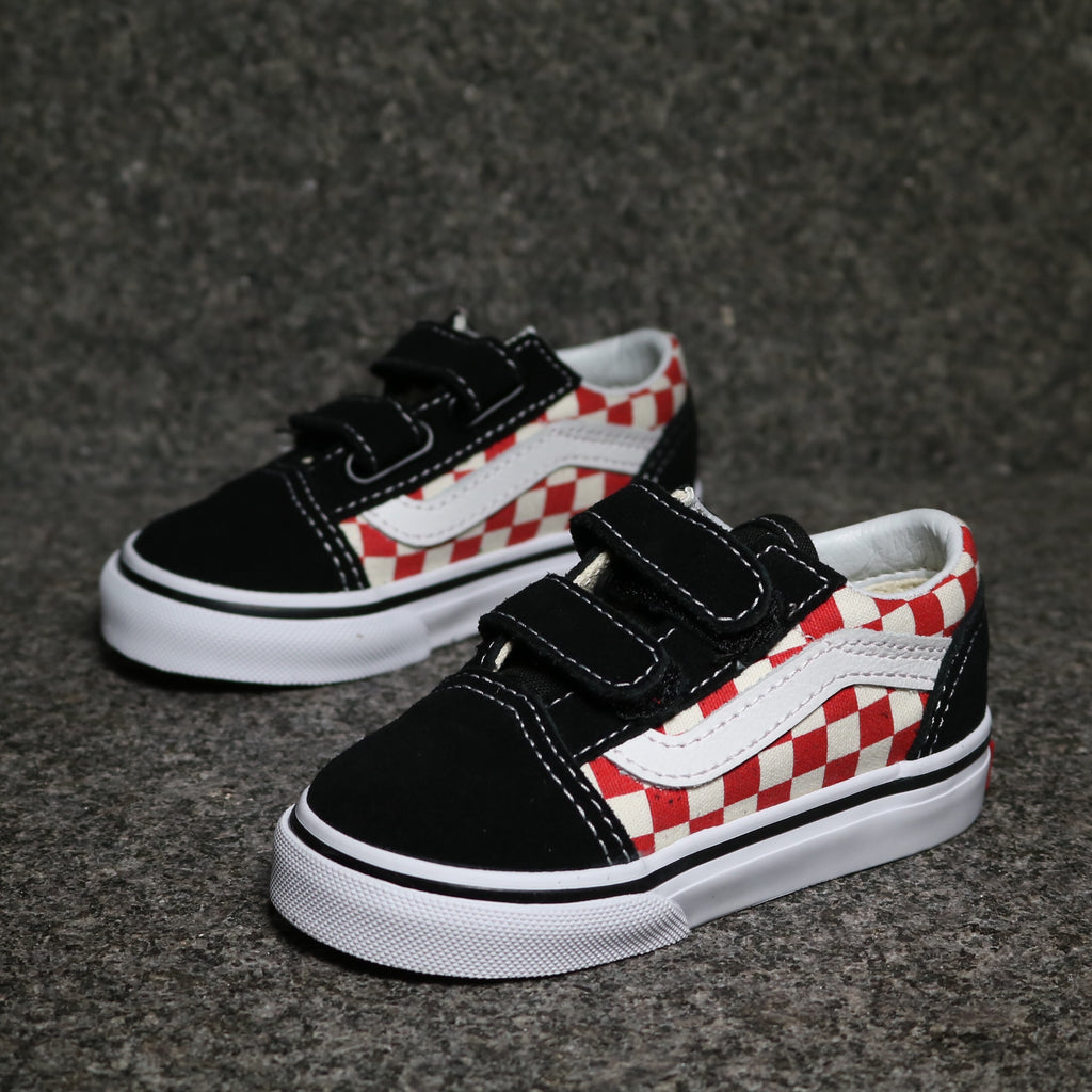 058d5cedddd Toddler Old Skool V Checkerboard Black Red White – Sole Mate Sneaker  Boutique