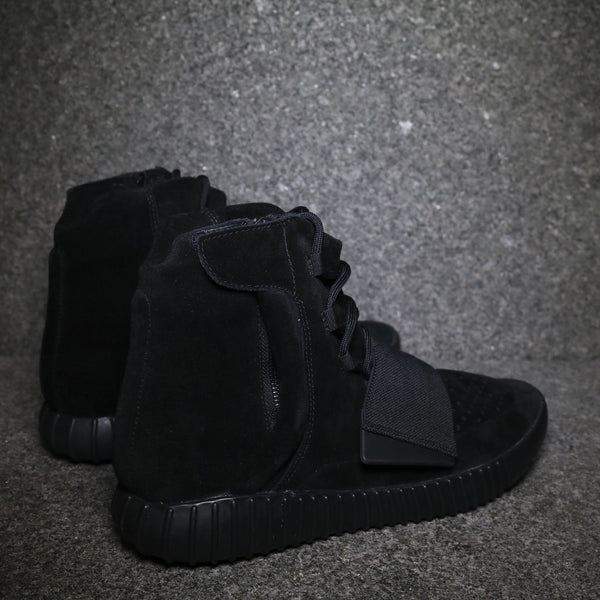 "Backside view of the Yeezy 750 Boost ""Black"" Black Black at Solemate Sneakers Sydney"