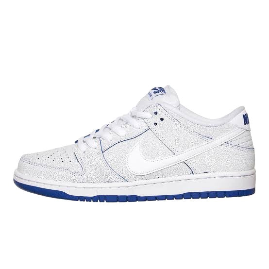 "SB Dunk Low ""Cracked Leather"" White Game Royal By Nike"