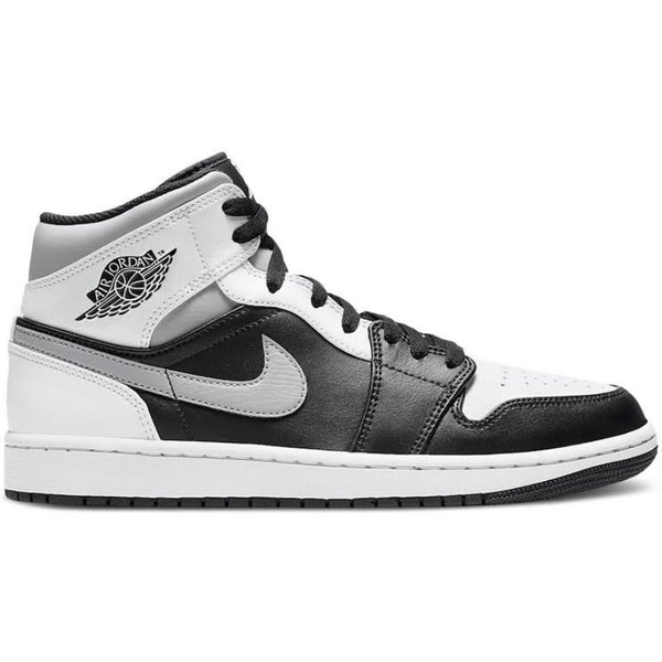 Air Jordan 1 Mid White Shadow Black White Light Smoke Grey