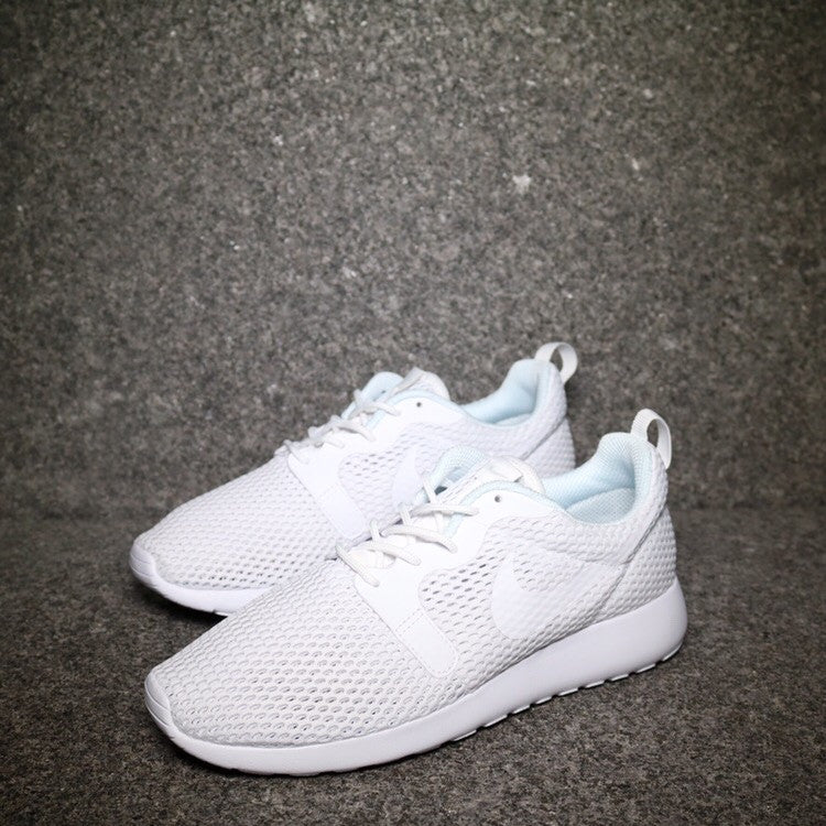 Off centre view of the Women's Roshe One Hyperfuse Breeze Triple White at Solemate Sneakers Sydney