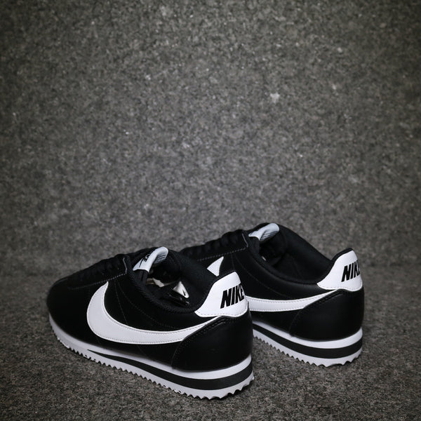 Rear view of the Nike Women's Cortez Leather Classic Black White at Solemate Sneakers Sydney