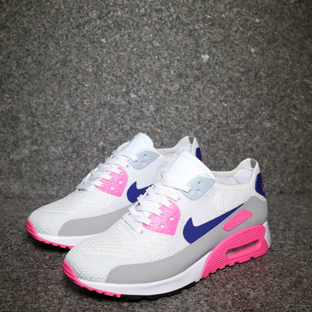 db80b51b3437c Womens Air Max 90 Ultra 2.0 Flyknit White Concord Blue Laser Pink