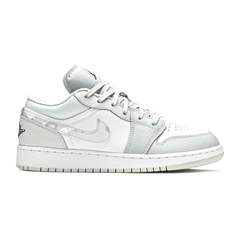 Air Jordan 1 Low GS White Camo Photon Dust Grey Fog