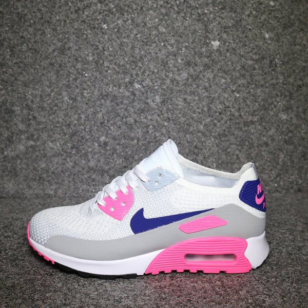 427873209628 Womens Air Max 90 Ultra 2.0 Flyknit White Concord Blue Laser .