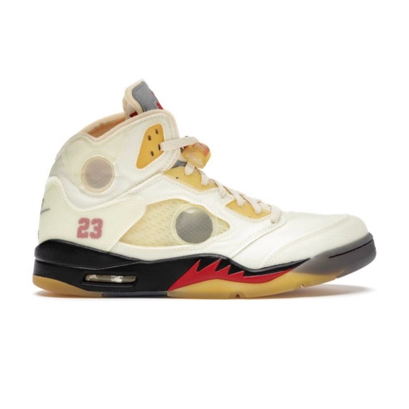 Off White x Air Jordan 5 Retro SP Sail Muslin Fire Red Black