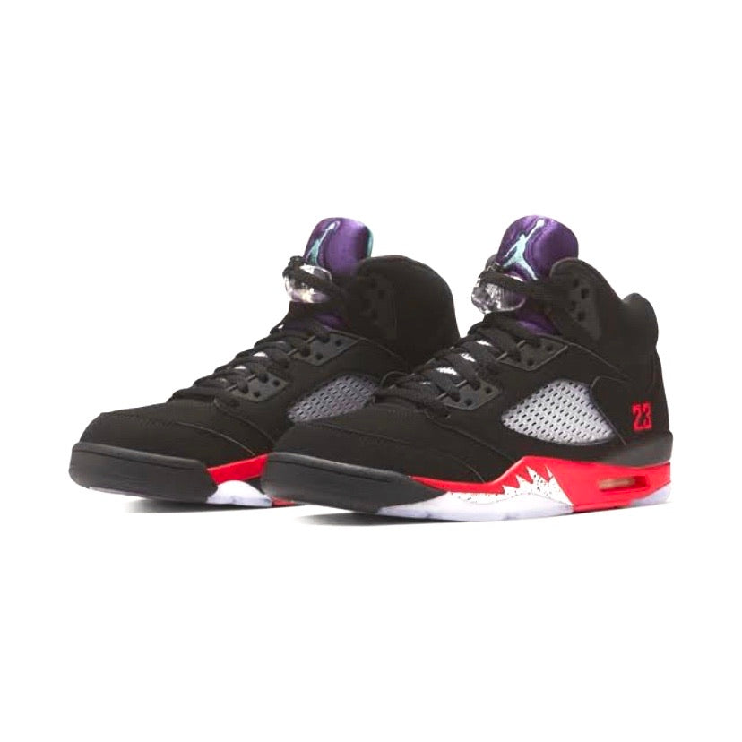 Air Jordan 5 Retro Top 3 BLACK/FIRE RED-GRAPE ICE-NEW EME