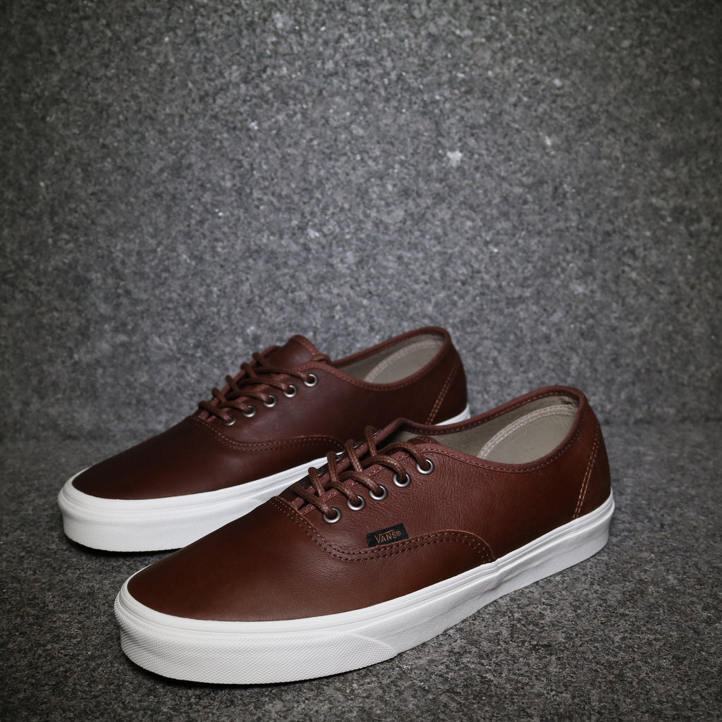 Off Centre View of the Vans Authentic Leather Dark Brown at Solemate Sneakers Sydney