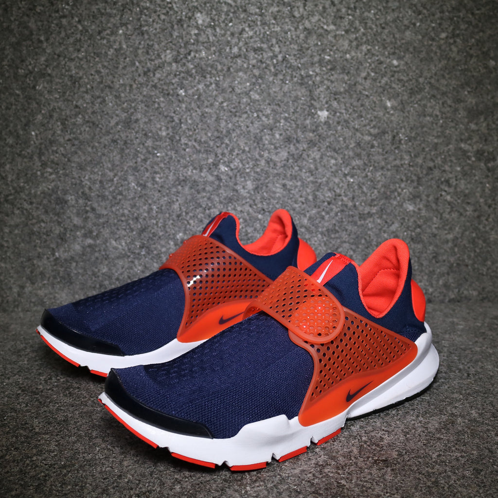 Off Centre View of the Nike Sock Dart Midnight Navy Total Orange White at Solemate Sneakers Sydney