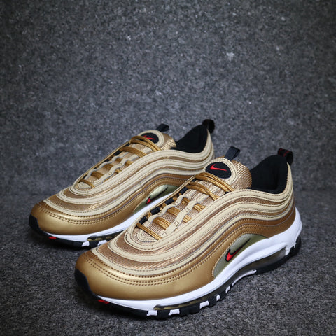 "Air Max 97 QS GS ""Gold Bullet"" Metallic Gold University Red Black"