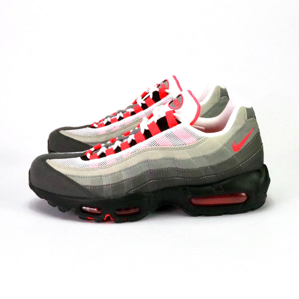 Side view of Air Max 95 OG White Solar Red Granite Dust Grey