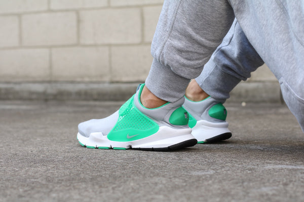 On Foot view of the Sock Dart Wolf Grey Stadium Green at Solemate Sneakers Sydney