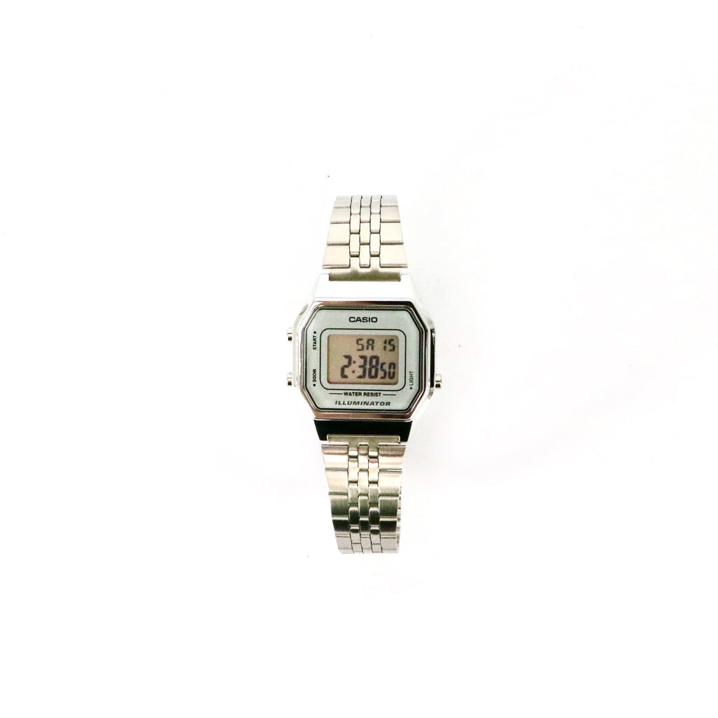 Ladies Casio Digital Stainless Steel Band Silver