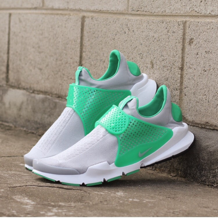 Photographic View of the Sock Dart Wolf Grey Stadium Green at Solemate Sneakers Sydney