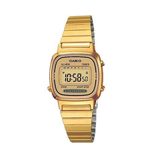 Ladies Casio Vintage World Timer Gold Face Gold Steel Band