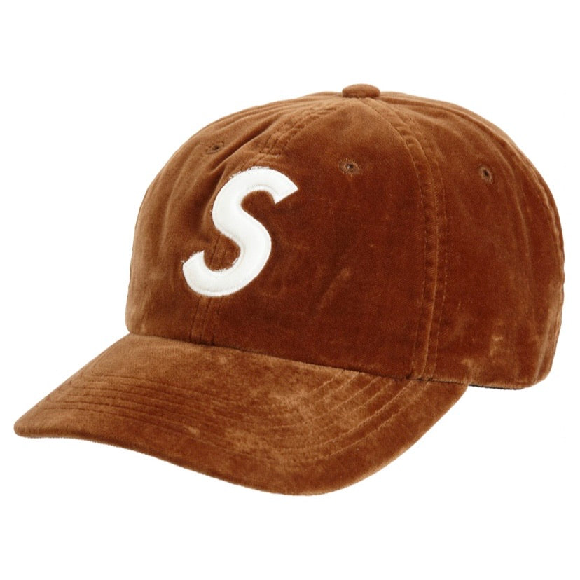 Supreme Velvet S Logo 6 Panel Tan Brown White