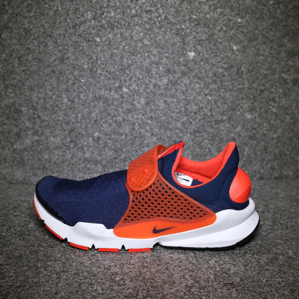 Side View of the Nike Sock Dart Midnight Navy Total Orange White at Solemate Sneakers Sydney