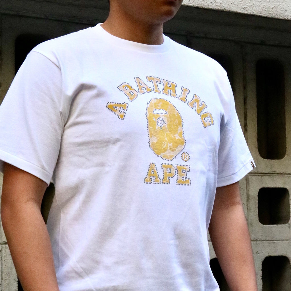 A Bathing Ape ABC Tee 3M Reflector Noise White Yellow