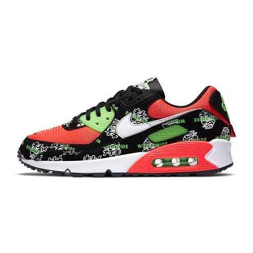 Women's Air Max 90 Special Edition World Wide Pack Black Green Strike Crimson White