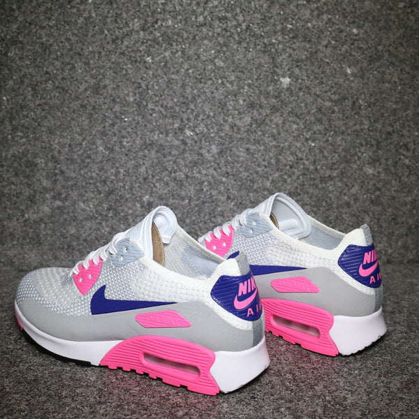 release date: fd84f 9a3cd Women's Air Max 90 Ultra 2.0 Flyknit White Concord Blue Laser Pink