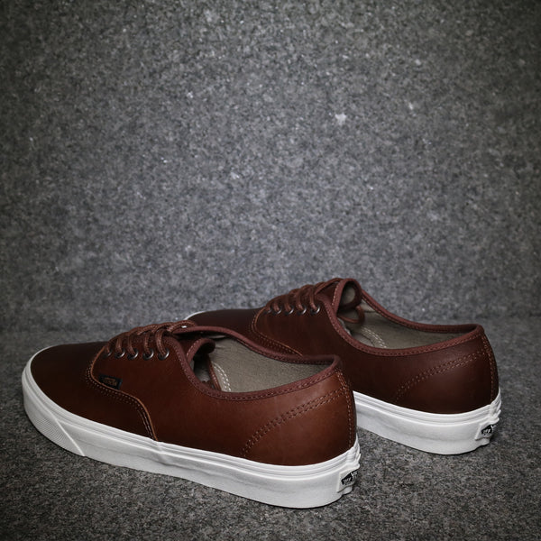 Rear View of the Vans Authentic Leather Dark Brown at Solemate Sneakers Sydney