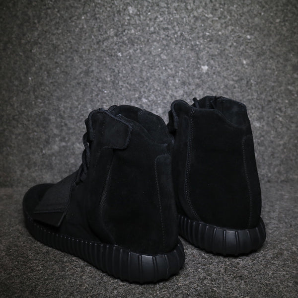 "Rear view of the Yeezy 750 Boost ""Black"" Black Black at Solemate Sneakers Sydney"