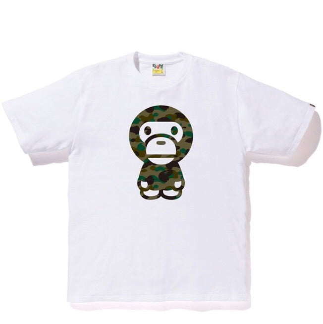 A Bathing Ape Big Baby Milo 1st Camo Tee White