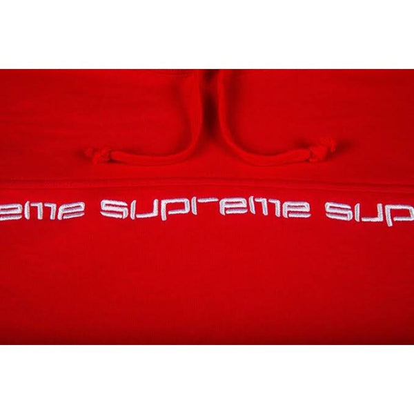 Supreme Hoodie Text Stripe Red