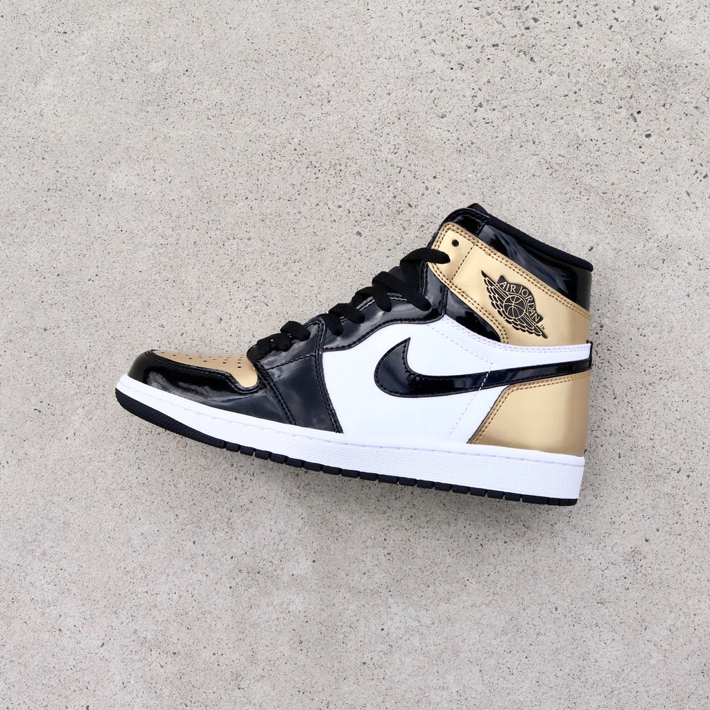 0ac07e7670ede1 Air Jordan 1 Retro High OG NRG Gold Toe Black Metallic Gold Summit Whi –  Sole Mate Sneaker Boutique